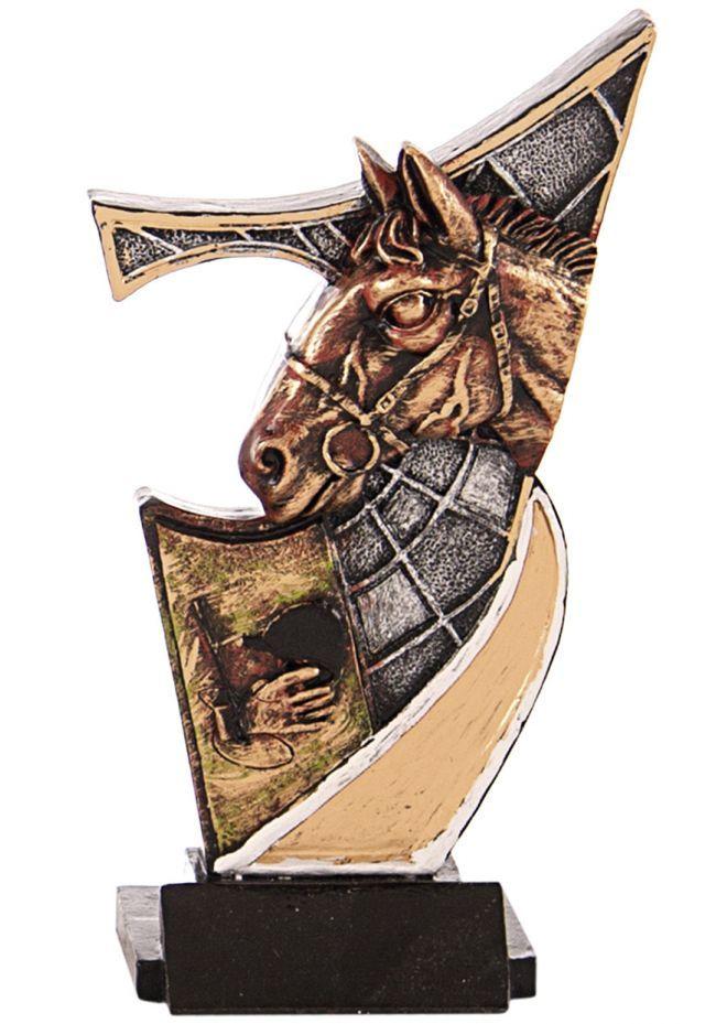 Trofeo resina aplique caballos