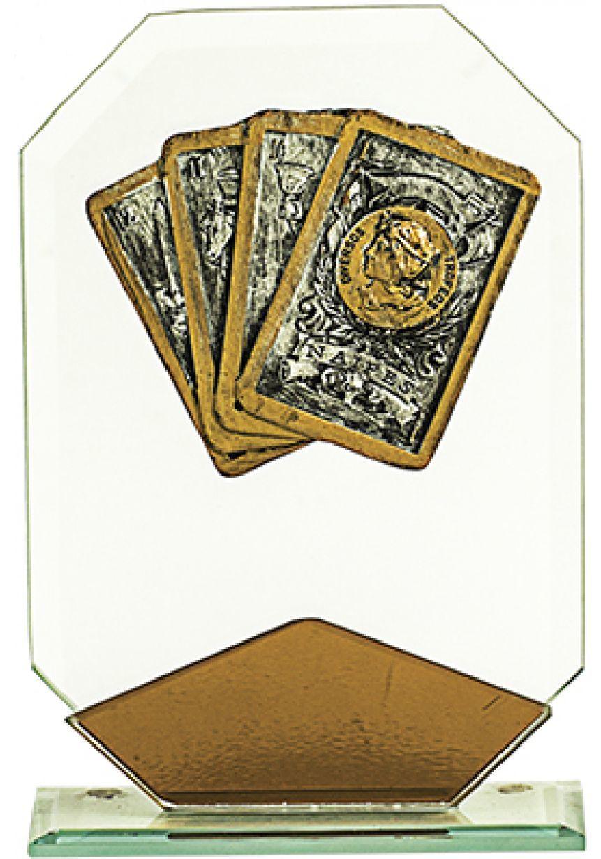Trofeo de cristal octogonal marron cartas