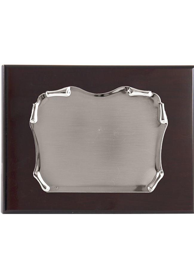 Placa de homenaje  Latón baño plata pergamino