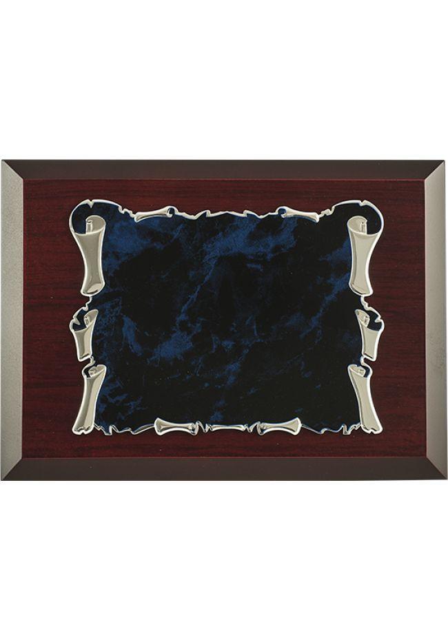 Placa de homenaje forma pergamino aluminio fondo azul-negro