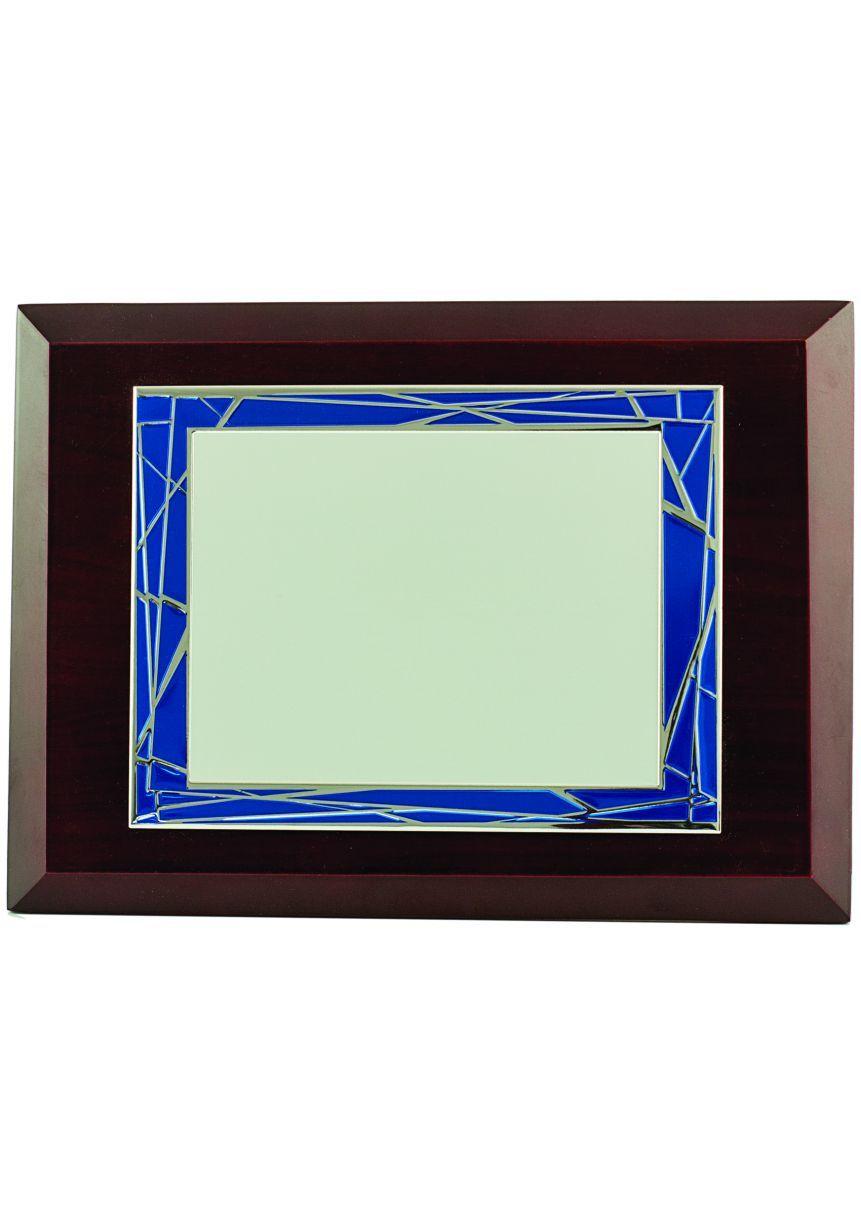 Placa de homenaje marco azul/ plateado
