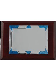 placa de homenaje marco azul plateado 11