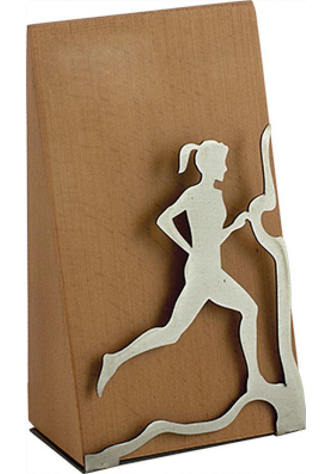 Trofeo Cross femenino en madera y metal