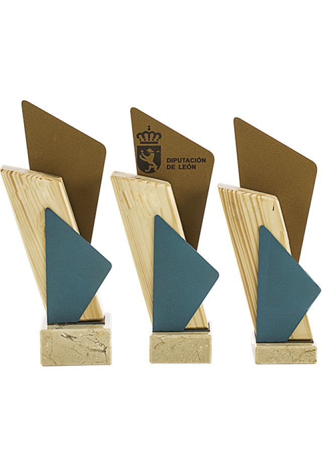 Trofeo madera metal multicolor