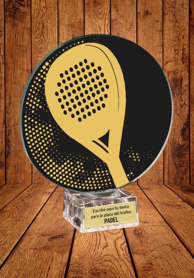 Trofeo de cristal Raqueta Padel