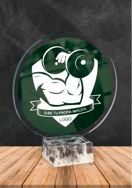 Trofeo de cristal con imagen personalizada incluida