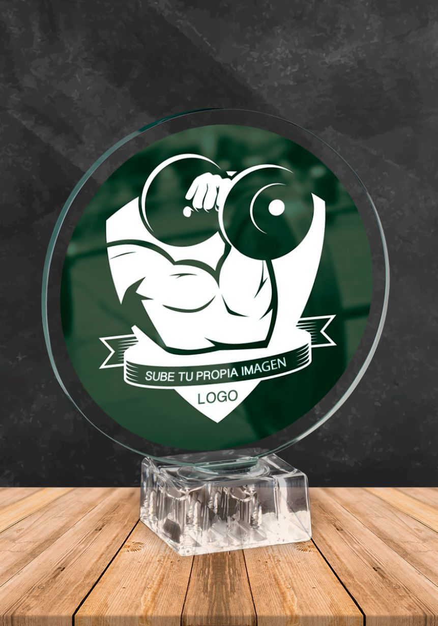 Glass trophy with custom image included