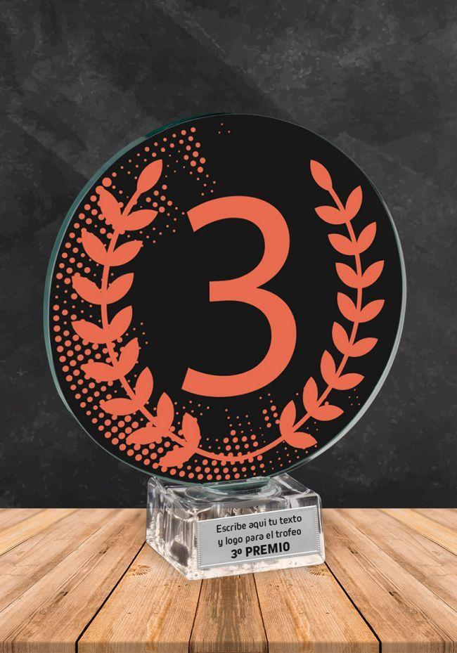 Trofeo de cristal Ganador Numero 3