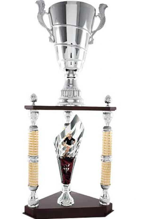 Trofeo columna triángulo cono fútbol