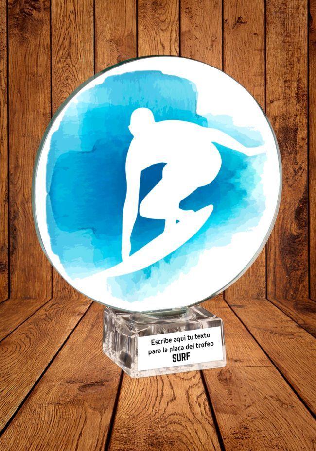 Trofeo de cristal para Surf