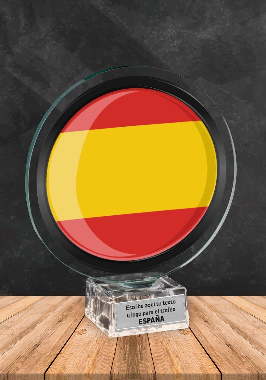 Trofeo de cristal con imagen de España