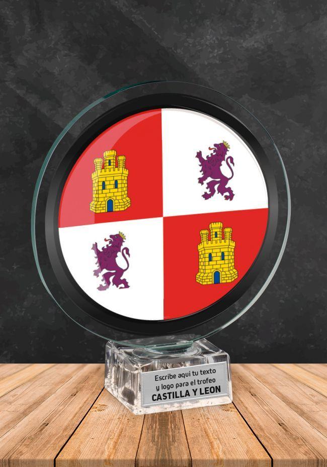 Trofeo de cristal con imagen de Castilla y León