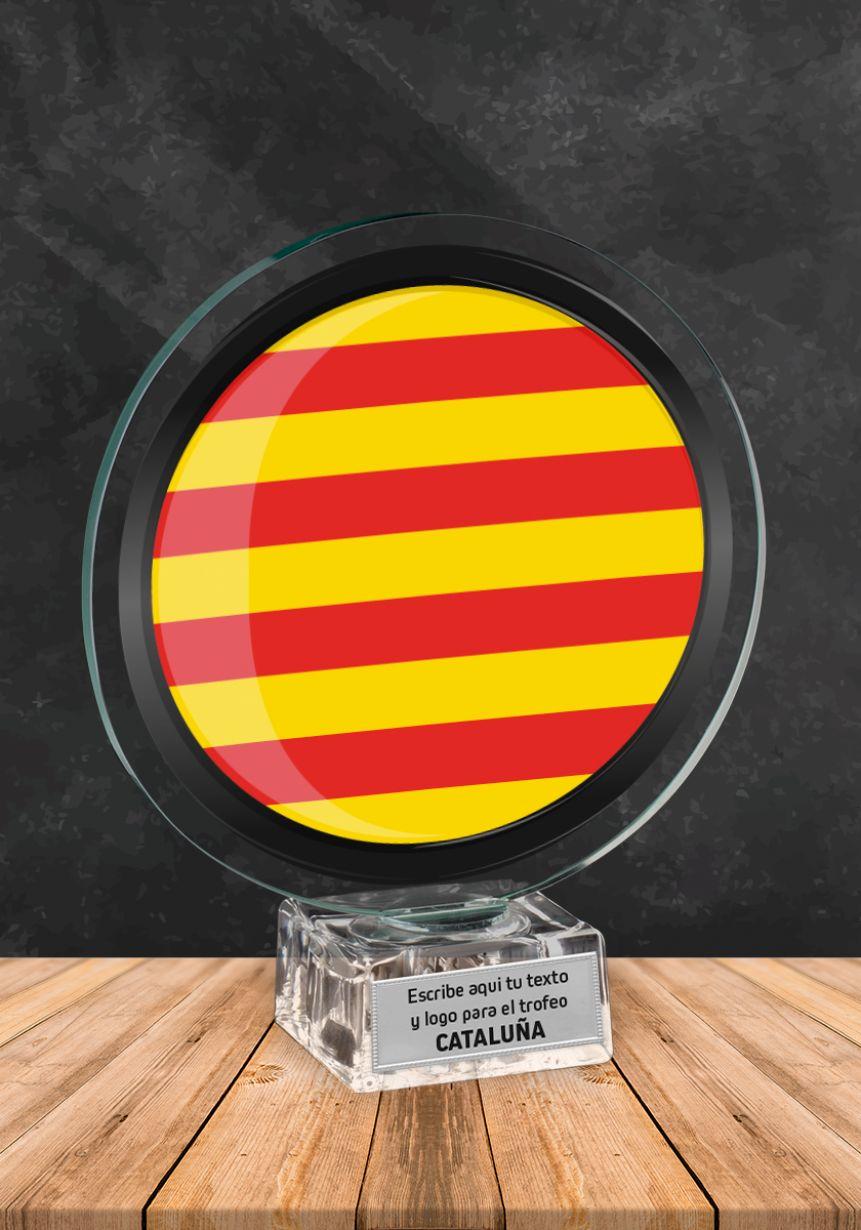 Trofeo de cristal con imagen de Cataluña
