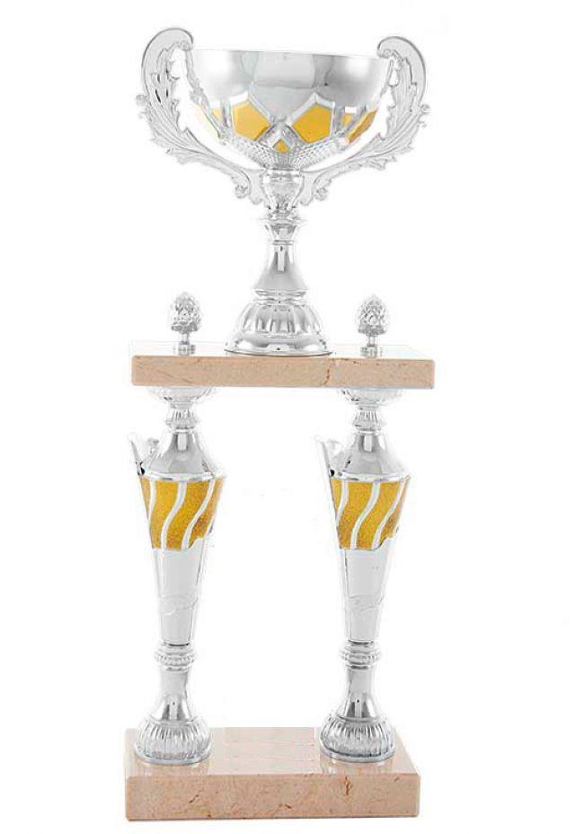 Trofeo columna plateada con detalle en oro