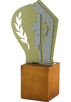 Trofeo de Cross en Metal/Madera Hombre Thumb