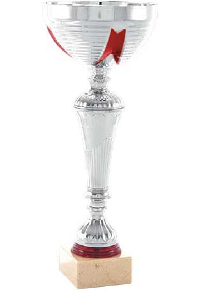 Trofeo copa con dibujo cinta rojo