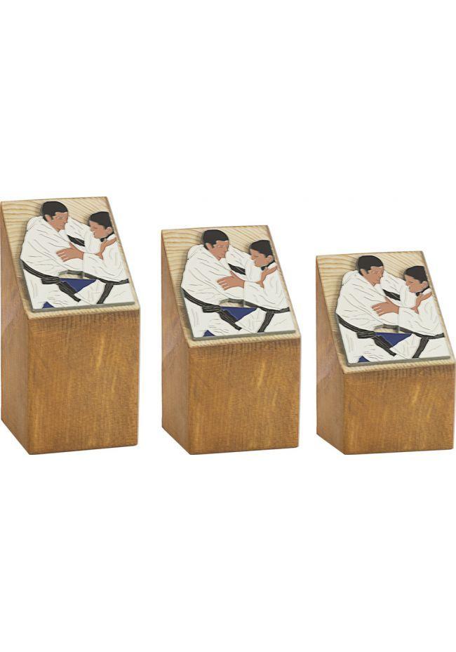 Trofeo Cuña Madera Aplique Judo