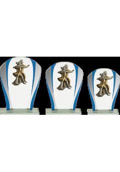 Trofeo Cristal Detalle Azul Baile