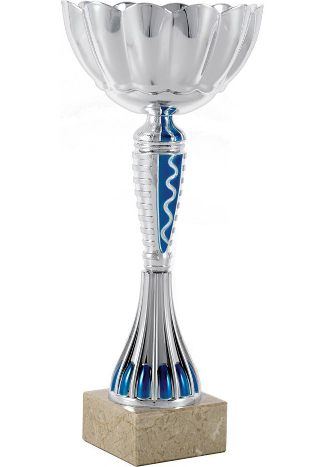 Trofeo forma de flor azul