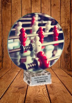 Trofeo de cristal para torneo de Futbolín