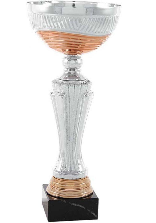 Trofeo copa con ondas cobre y plata