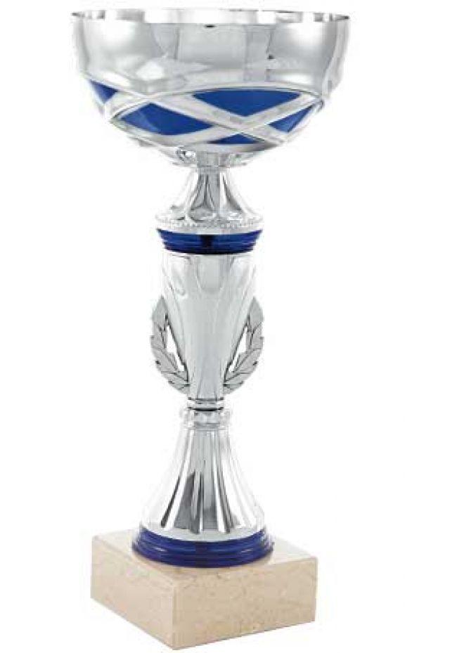 Trofeo copa entramado azul y plata