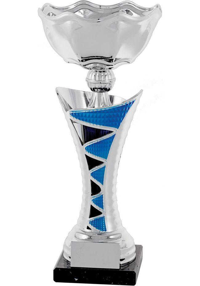 Trofeo copa columna  plata-azul