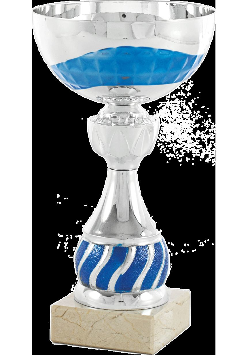 Trofeo mini balón plata/azul