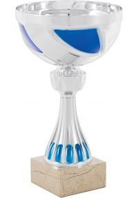 Mini silver/blue balloon trophy