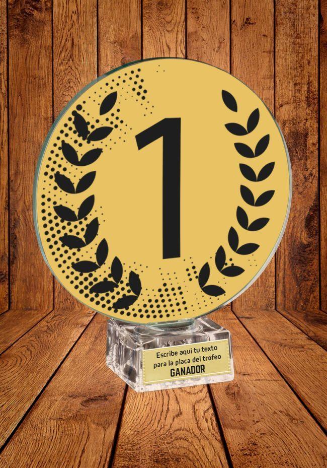 Trofeo Ganador con el Numero 1