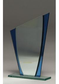 Détail de trophée en cristal ovale Bleu