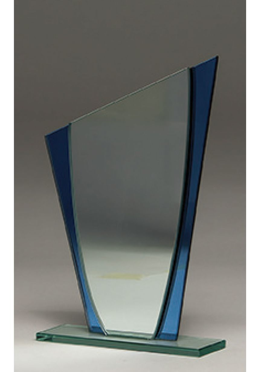 Trofeo de cristal cuña detalle Azul