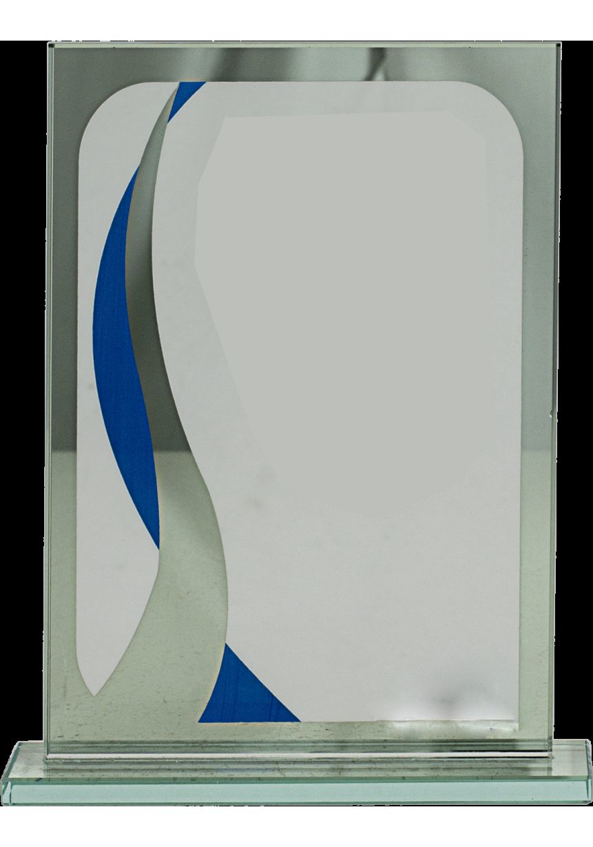 Trofeo de cristal rectangular detalle azul