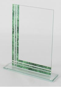 Rectangular glass trophy blue detail