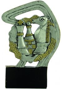 Sports trophy in gold/silver chess resin