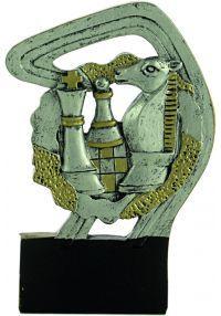 Trofeo deportivo en resina oro/plata de ajedrez