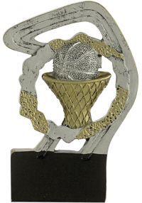 Trofeo deportivo en resina oro/plata de baloncesto