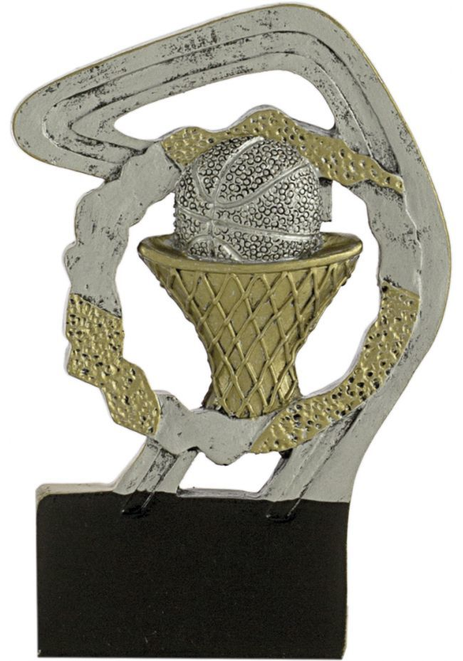 Sports trophy in gold/silver basketball resin