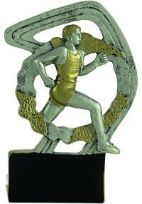 Sporttrophäe in Harz Gold/Silber Kreuz Mann