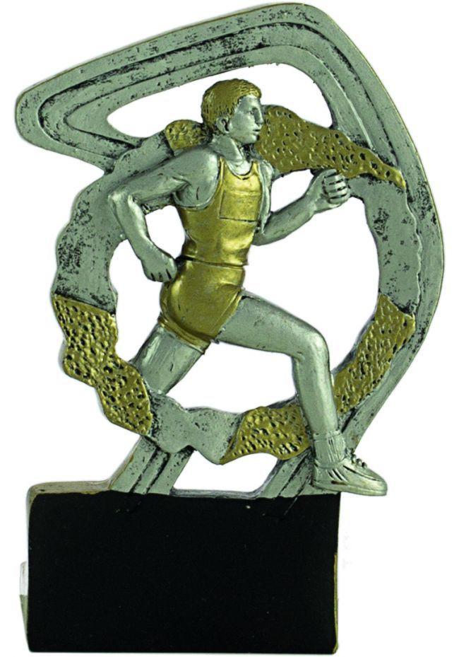 Trofeo deportivo en resina oro/plata  de cross hombre