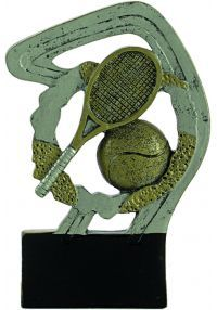 Gold/silver tennis resin trophy