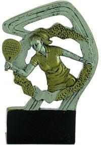 Trofeo deportivo en resina de pádel mujer