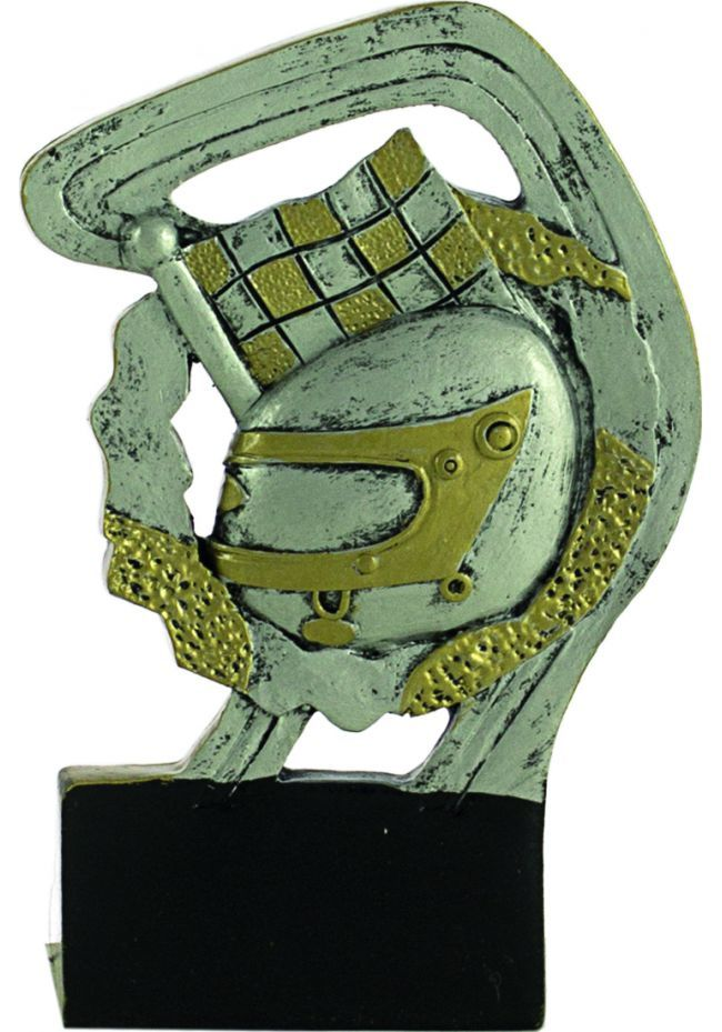 Trofeo deportivo en resina oro/plata de motor