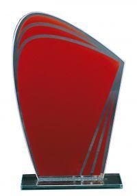 Trophée de cristal rouge ovale