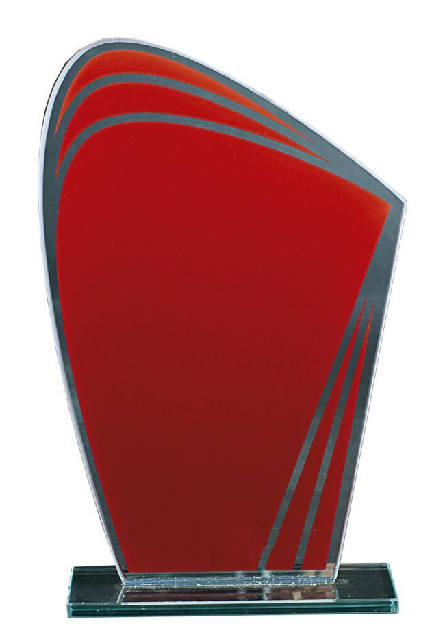 Trofeo de cristal Ovalado Rojo