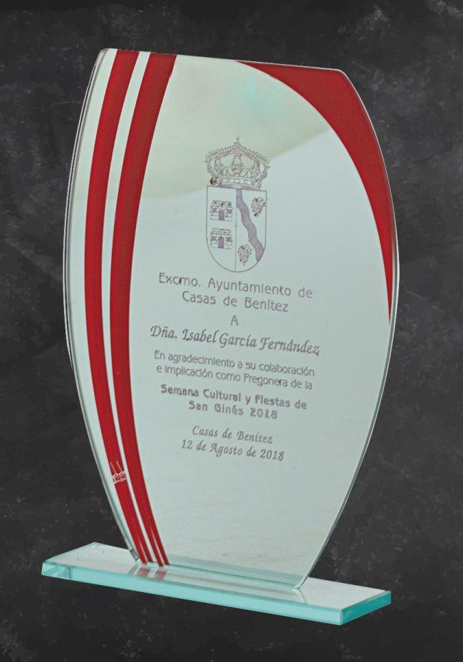 Trofeo de cristal Detalle rojo