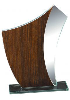 Trofeo de cristal imitación Madera