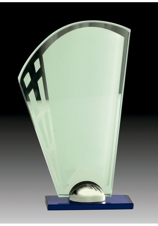 Trofeo de cristal en color con forma de Abanico