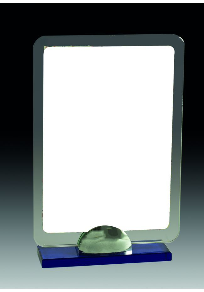 Trofeo de cristal rectangular con soporte
