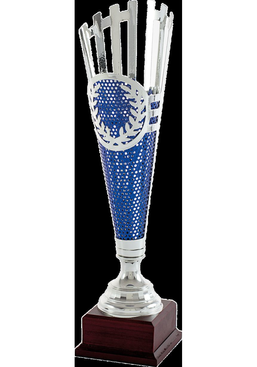 Trofeo copa corte geométrico azul